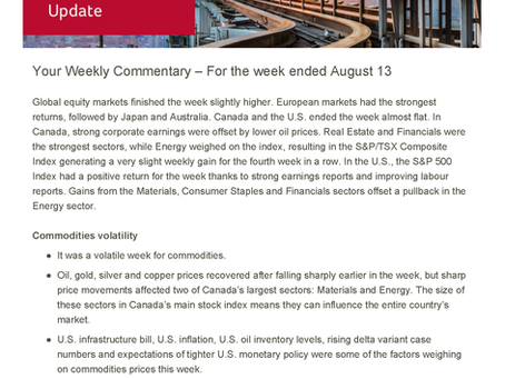 Canada Life  Weekly Market Update August 16