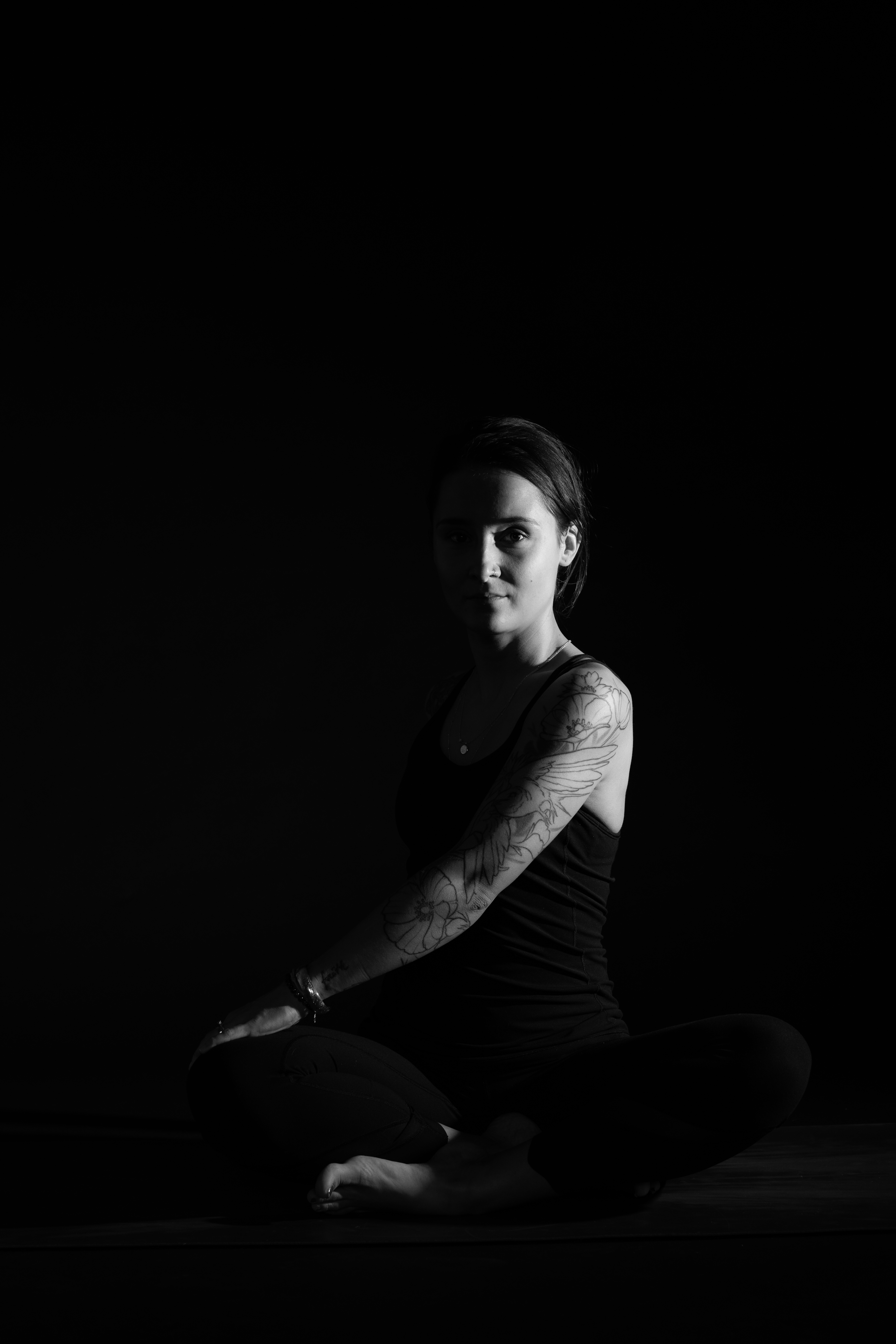 Paula yoga black & white photograph