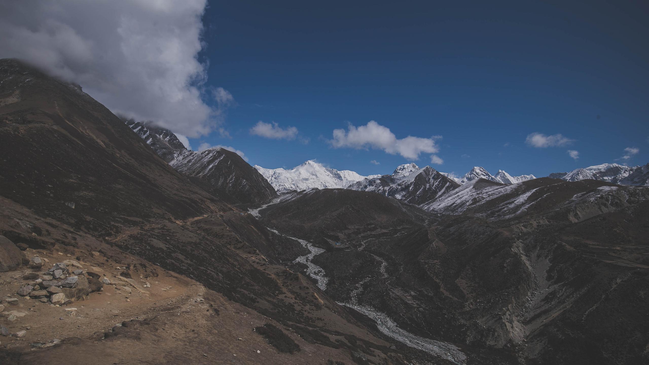 Views towards Ngozumpa Glacier from viewpoint near Sanasa