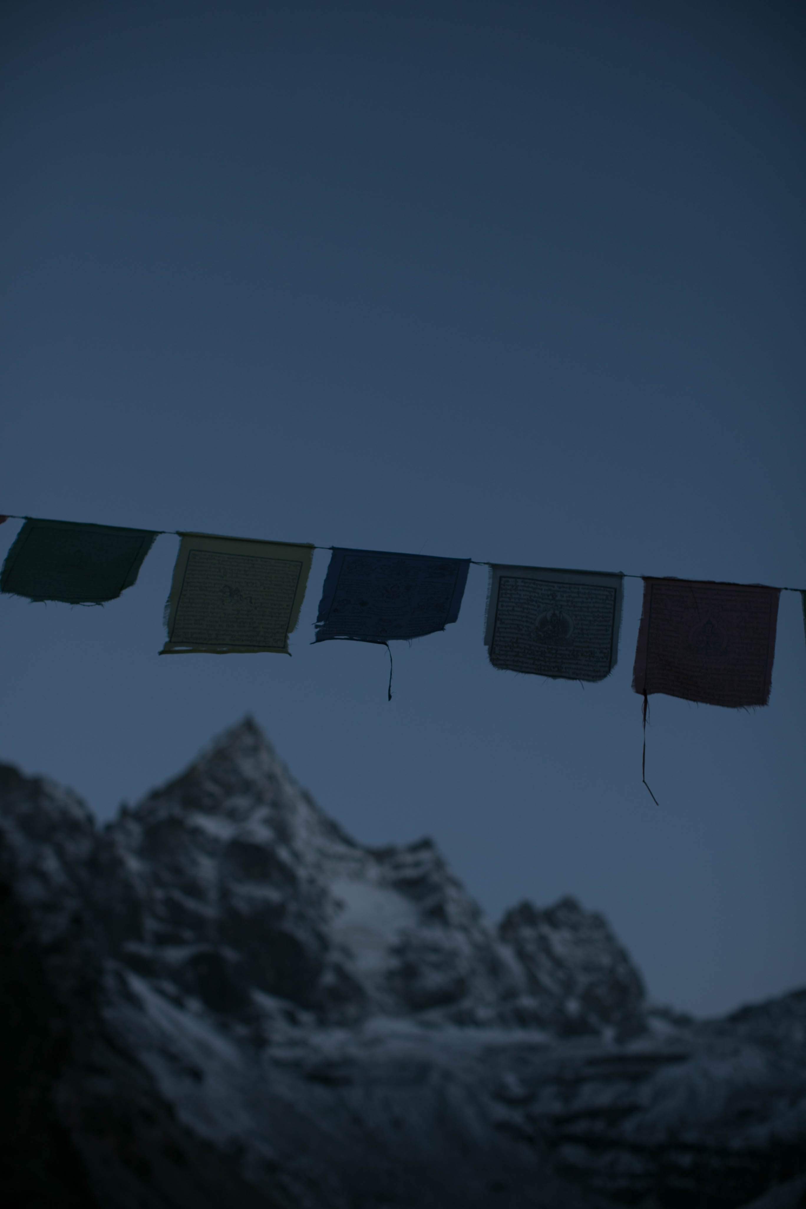 Nepalese flags at sunrise, Machhermo