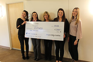 Five women holding oversized check