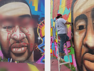 N***ers Lives Don't Matter Spray Painted On Mural Of George Floyd In Huston Texas