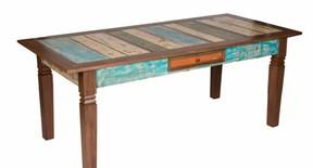 Mesa de jantar colorida madeira demolição 200x90x80h
