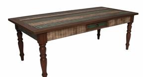 Mesa de jantar colorida madeira demolição 230x105x80h