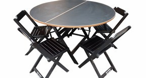 Mesa dobrável 140 cm de diâmetro  estrutura preta e natural com fórmica preta