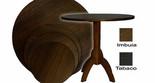 Mesa pé central 60 / 70 / 80 cm de diâmetro fórmica imbuia e tabaco