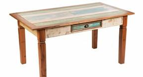 Mesa de jantar pé mineiro madeira de demolição 160x90x80