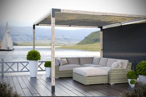 Single Pergola with 12x12 and 8x12 shade sails