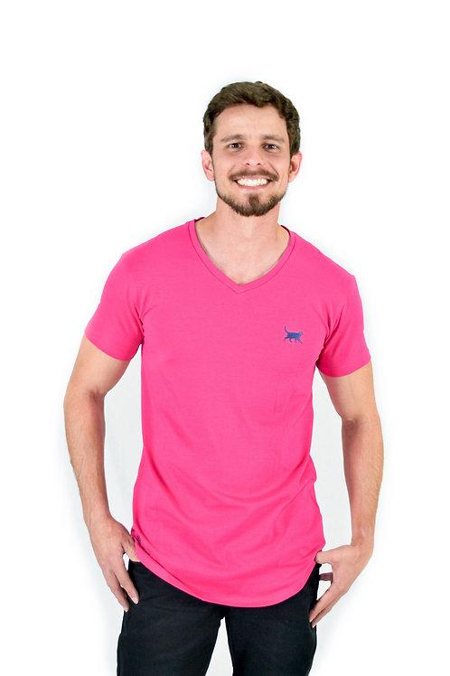 Camiseta Longline V Rosa