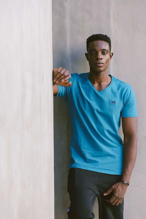 Camiseta Longline V Azul