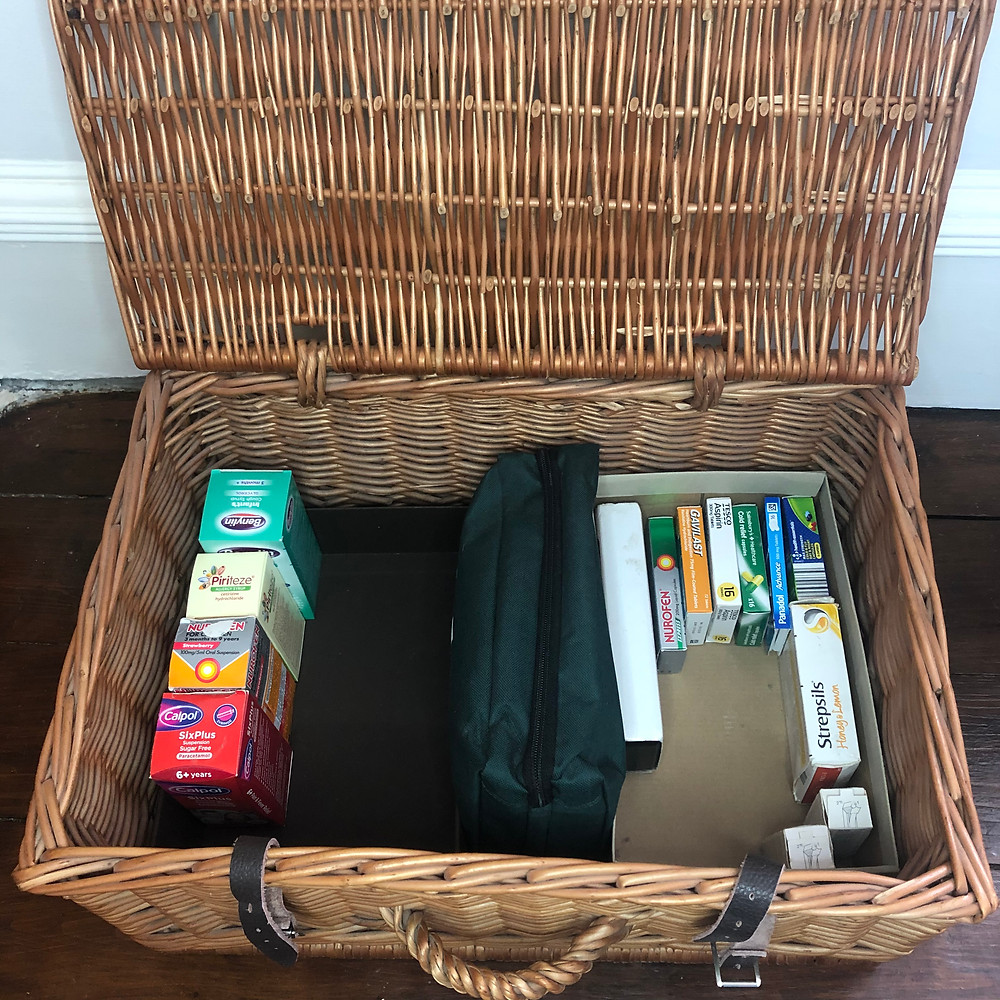 An organised and decluttered hamper for medicines