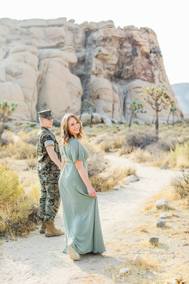 Military couple engagement session in Joshua Tree National Park