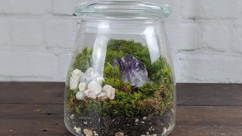 Amethyst Quartz Geode Moss Terrarium