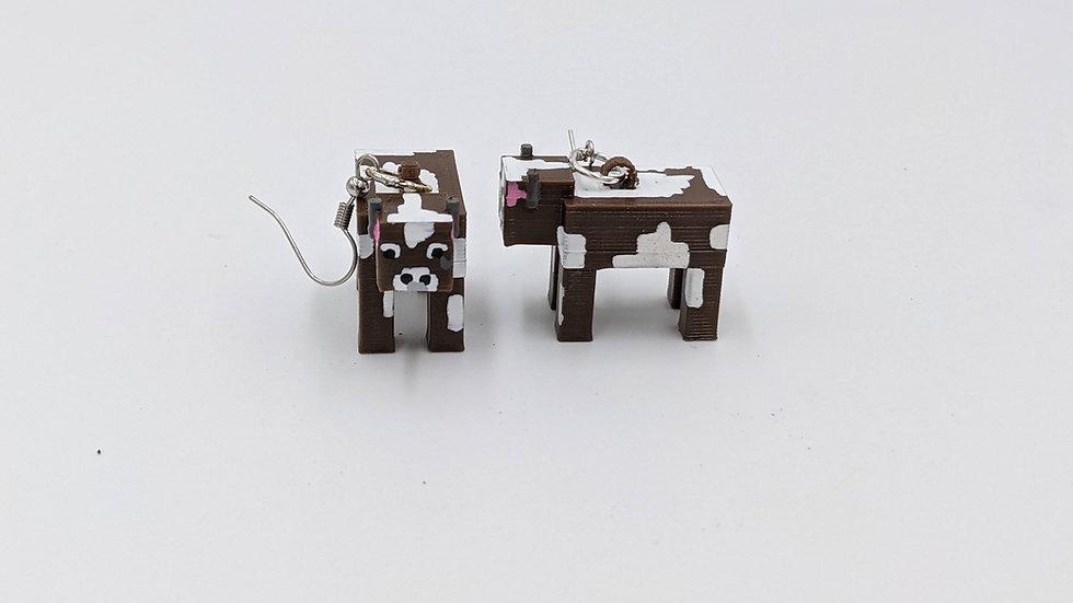 Minecraft Cow Earrings