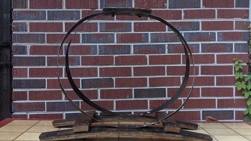 Bourbon Barrel and Hoop firewood holder