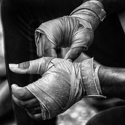 Hands of a boxer