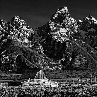 One of the Molton Barns in front of th Grand Teton peak
