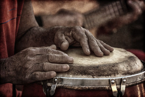 Hands of a conga musician