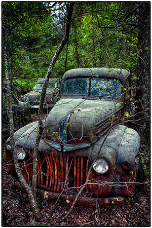 Old truck in the woods in Old Car City, USA