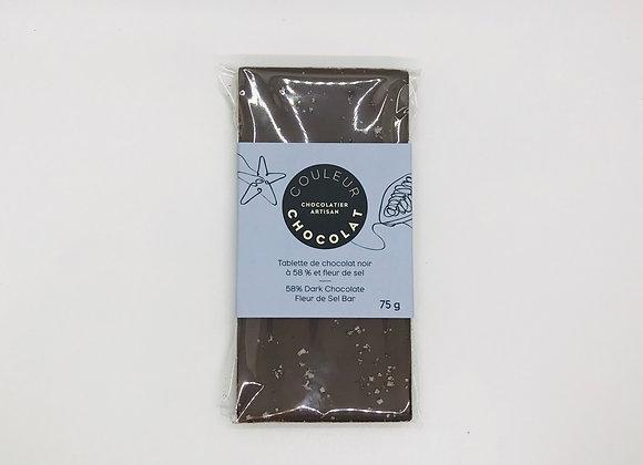 Tablette de chocolat noir 58% et fleur de sel