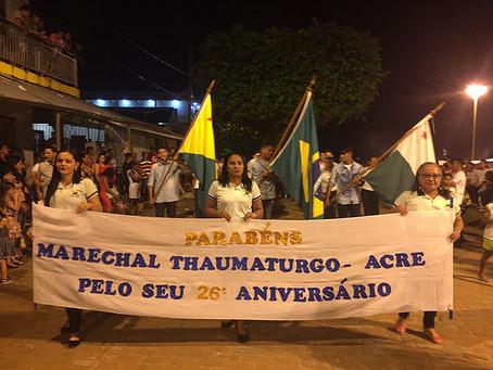 Marechal Thaumaturgo Comemora 26 Anos de Emancipação e 114 Anos de História
