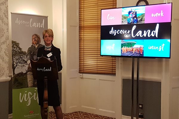 Councillor Cath Homer at the Discover our Land Alnwick event
