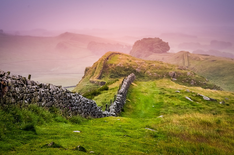 Hadrian's wall as the mist was starting