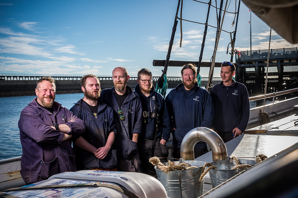 Clive Grey and his team aboard the Blyth Tall Ship