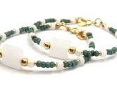 Pulsera de de cuentas Miyuki en color verde, blancoy plata chapada en oro