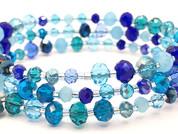 Pulsera de acero y cristal en tonos azules