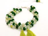 Pulsera semanario de cristal en tonos verdes