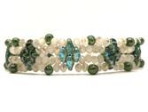 Pulsera de cristal en tonos verdes/azul blanco