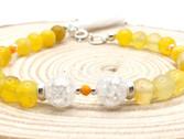 Pulsera ágata amarilla, cristal blanco roto y plata