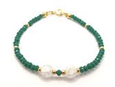 Pulsera de cristal verde, cristal blanco y plata chapada en ororoto