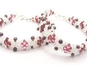 Pulsera cristal en tonos rosas y blanco