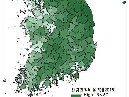 15.1.1 지역별산림비율(%)(2015)