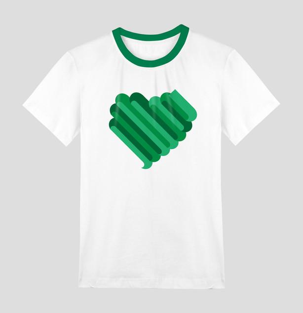 Branca T-shirt com forma do coração