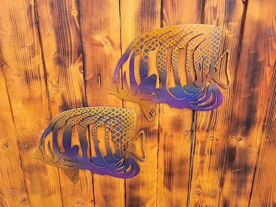Angle Fish Metal Art Pair