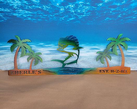 Mahi Dolphin Palm Tree Scene
