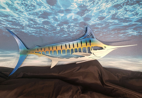 Aluminum marlin 47inches across finished is beautiful candy colors and cleared