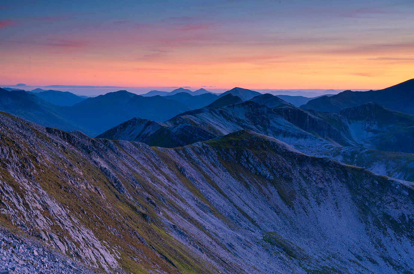 Last light over Lochaber summits