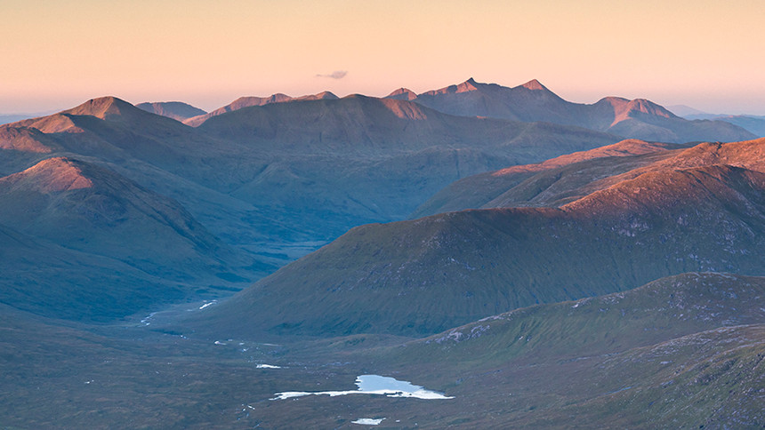 Sunrise over Ben Cruachan ridge.