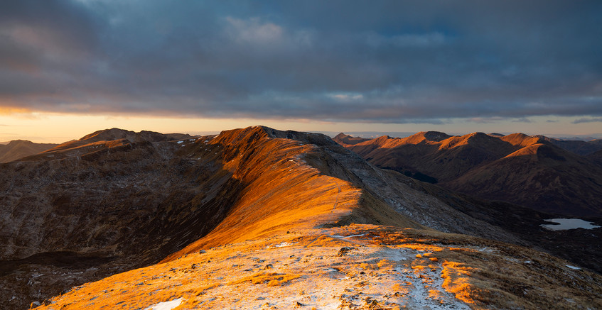 Sunset over Druim Shionach and the north ridge