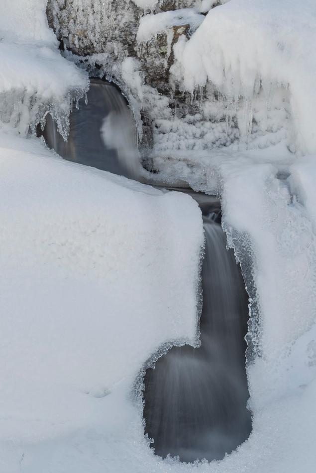 Highland winter waterfall