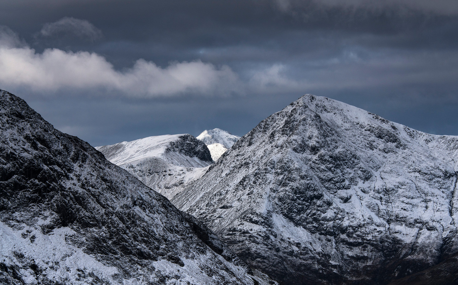 Winter storm over Buchailletive Mhor