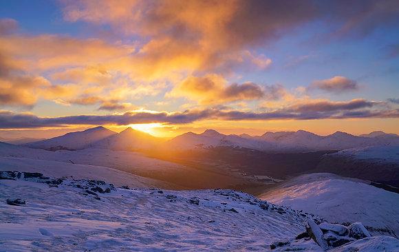 Sunrise over Ben More and Stob Binnein