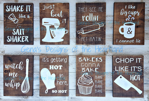 set of six funny kitchen hand painted wood signs - Funny Kitchen Signs