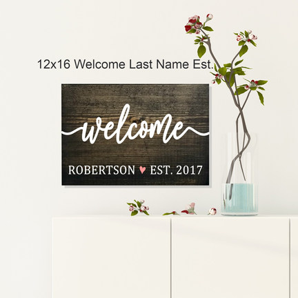 12x16 Welcome Last Name Est.