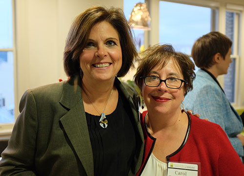 Nan Ford and Carol Templeton at Bodyfelt Mount's October, 2014 open house celebrating the new office space.