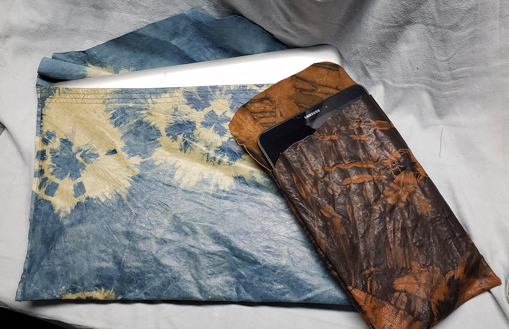 Upcycled Shibori Dyed Leather Tech Sleeves